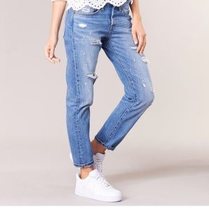 Levi's 501T Distressed Taper Button Fly Jeans 459